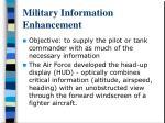military information enhancement