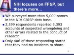 nih focuses on ff p but there s more