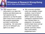 witnesses of research wrong doing joan e sieber and ann meeker o connell46