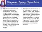 witnesses of research wrong doing joan e sieber and ann meeker o connell47