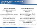 log based versus lab measured compressibility