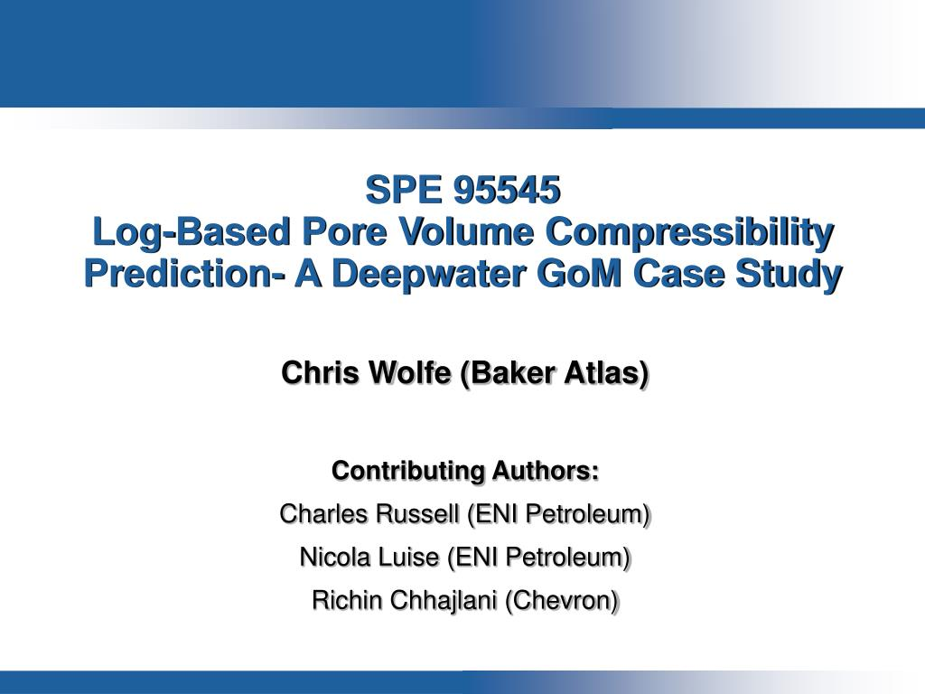 spe 95545 log based pore volume compressibility prediction a deepwater gom case study l.
