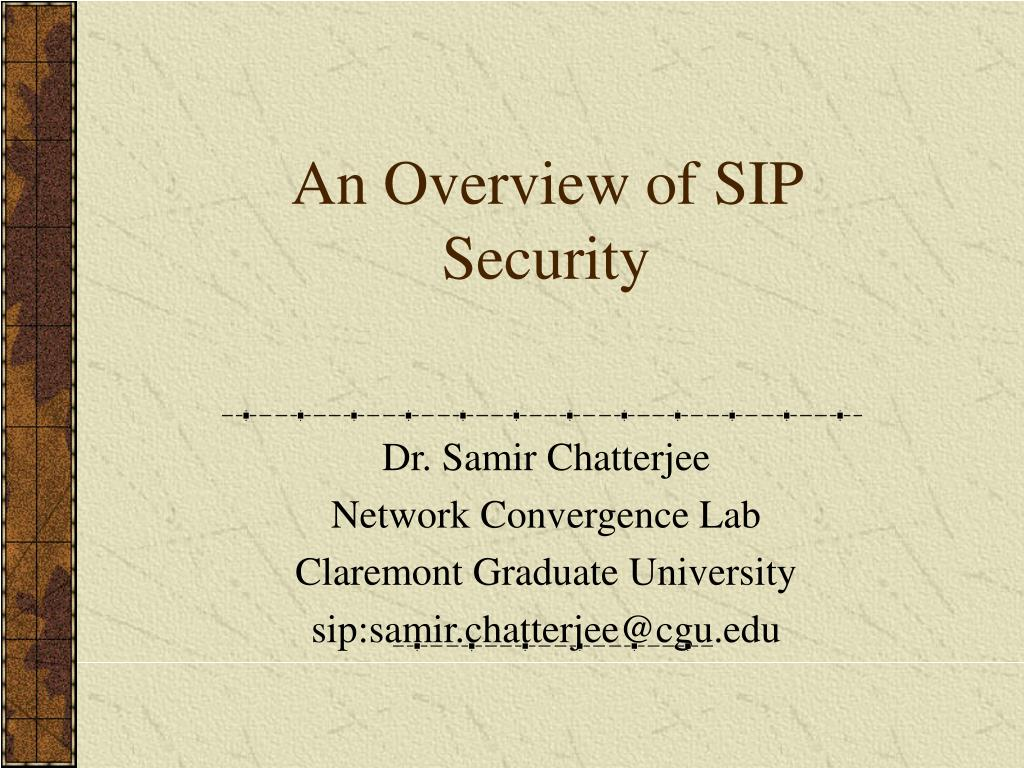 an overview of sip security l.
