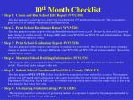 10 th month checklist