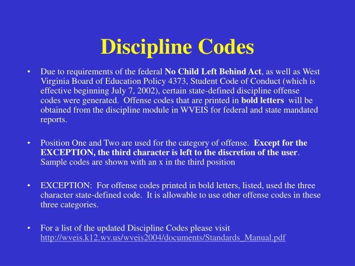 Discipline codes