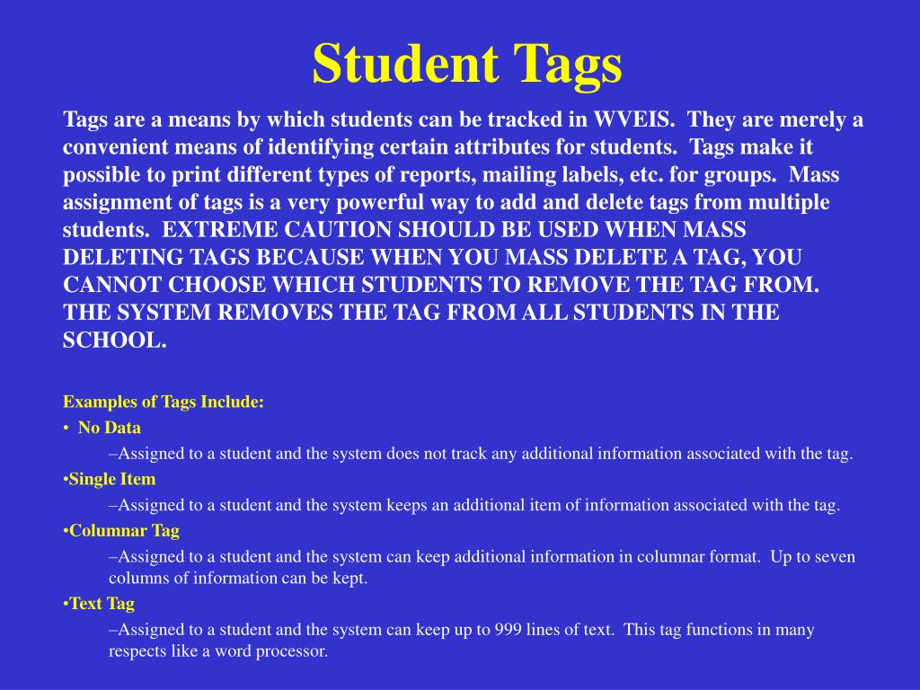 Student Tags