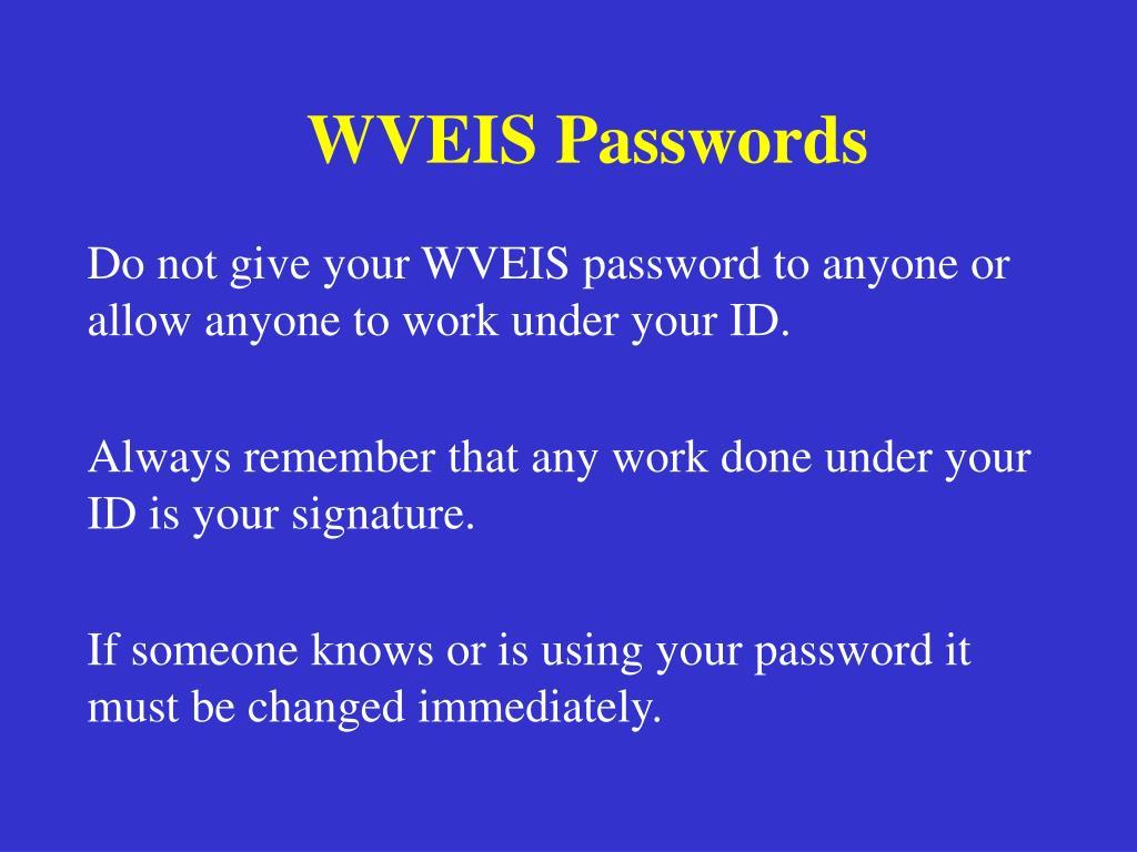 WVEIS Passwords