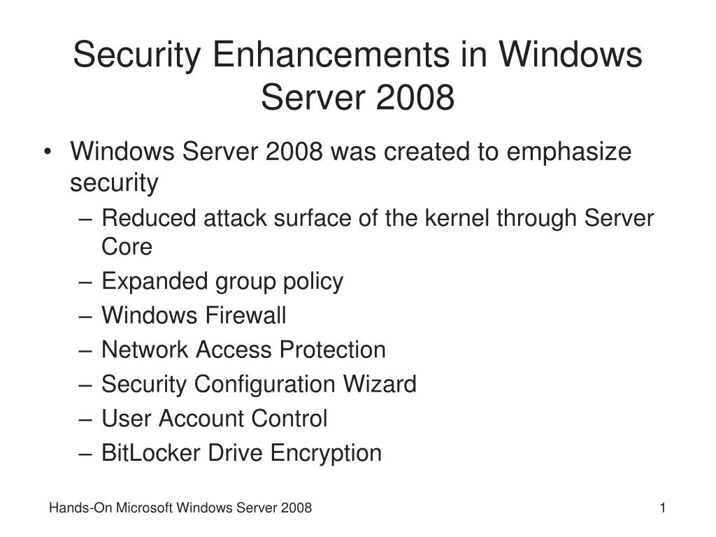 security enhancements in windows server 2008 l.