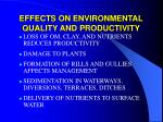 effects on environmental quality and productivity