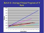 batch d average fitness progress of 9 runs
