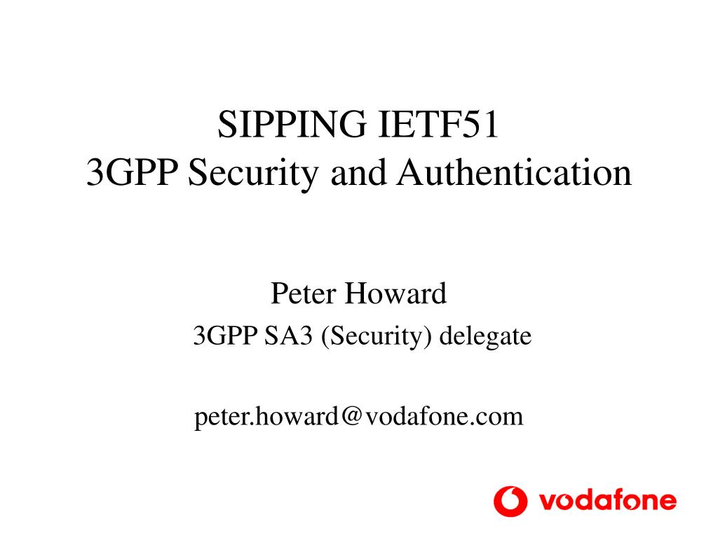 sipping ietf51 3gpp security and authentication l.