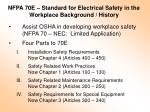 nfpa 70e standard for electrical safety in the workplace background history