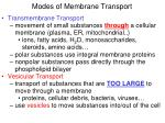 modes of membrane transport