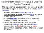 movement of substances relative to gradients passive transport