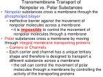 transmembrane transport of nonpolar vs polar substances