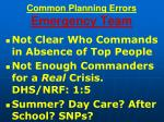 common planning errors emergency team