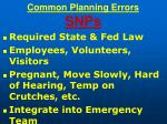 common planning errors snps