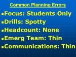 common planning errors
