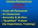 common planning errors training