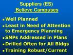 suppliers es believe campuses