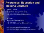 awareness education and training contacts