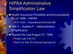 hipaa administrative simplification law