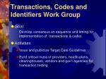 transactions codes and identifiers work group
