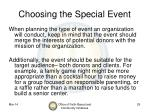 choosing the special event