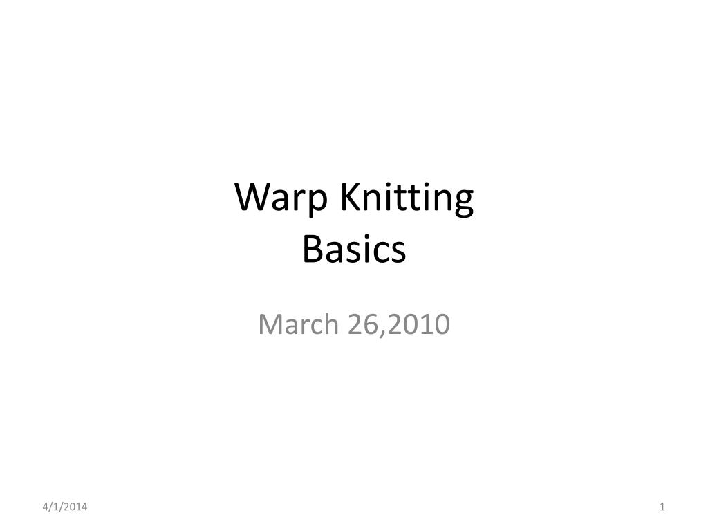 warp knitting basics l.