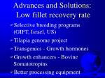 advances and solutions low fillet recovery rate