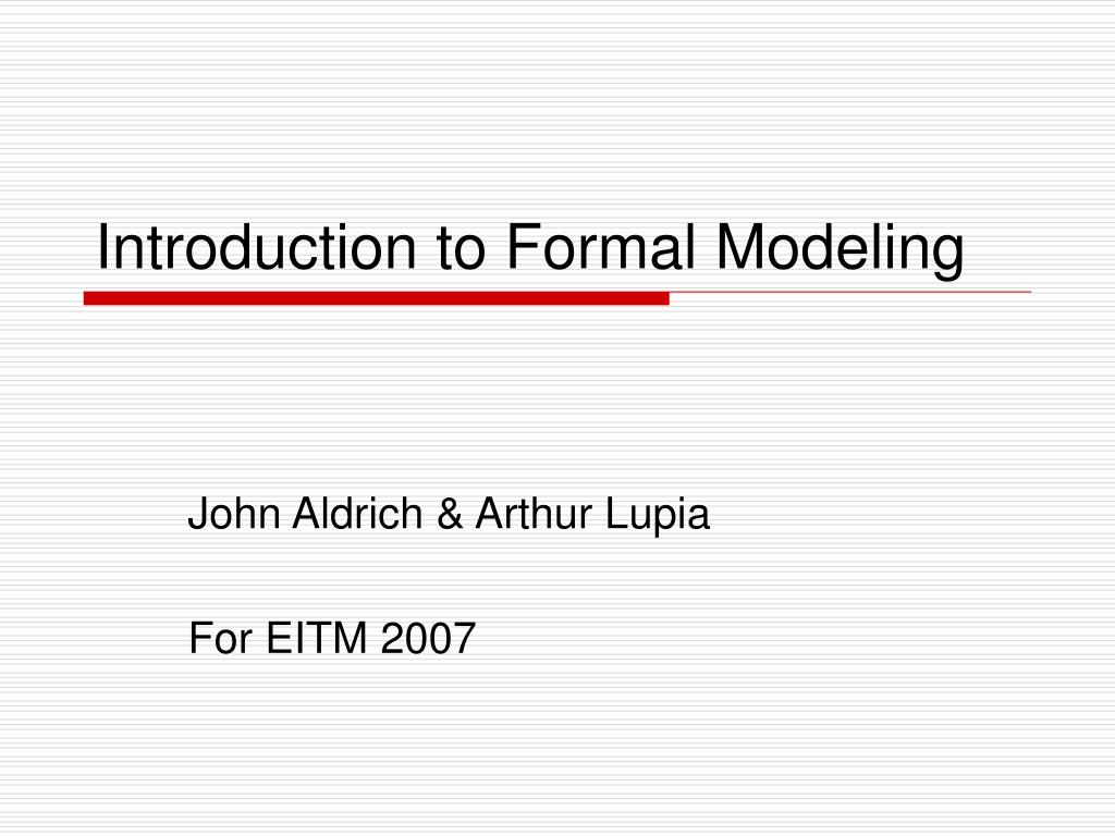 introduction to formal modeling l.