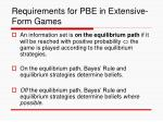 requirements for pbe in extensive form games