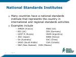 national standards institutes