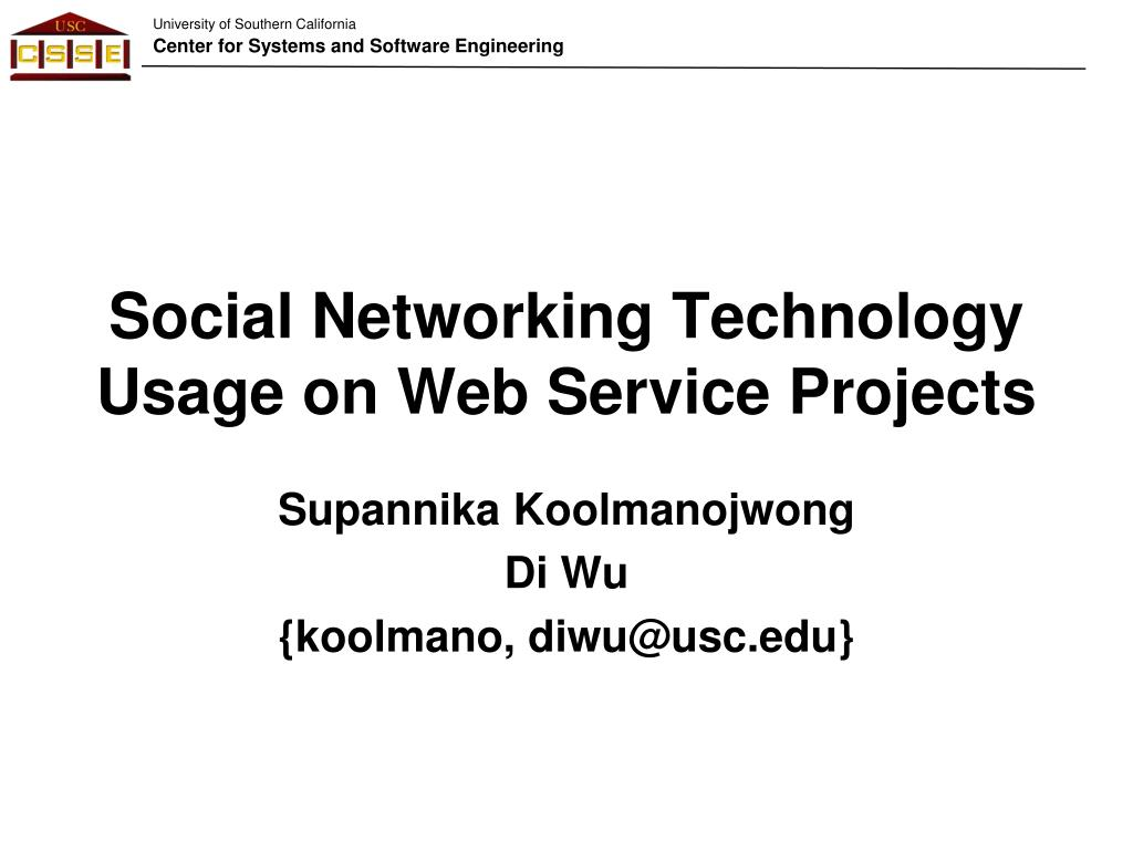 social networking technology usage on web service projects l.