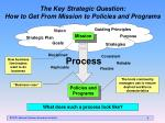 the key strategic question how to get from mission to policies and programs