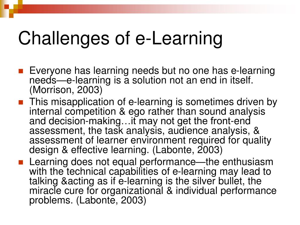 Challenges of e-Learning