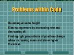 problems within code