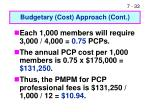 budgetary cost approach cont