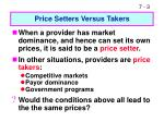 price setters versus takers