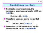 sensitivity analysis cont