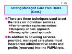 setting managed care plan rates cont