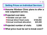 setting prices on individual services