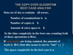 the copy over algorithm best case analysis