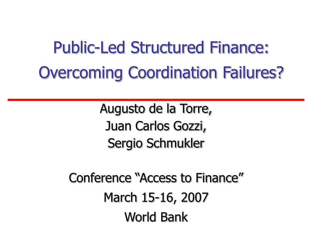 public led structured finance overcoming coordination failures l.