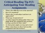 critical reading tip 13 anticipating your reading assignments