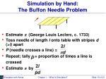 simulation by hand the buffon needle problem