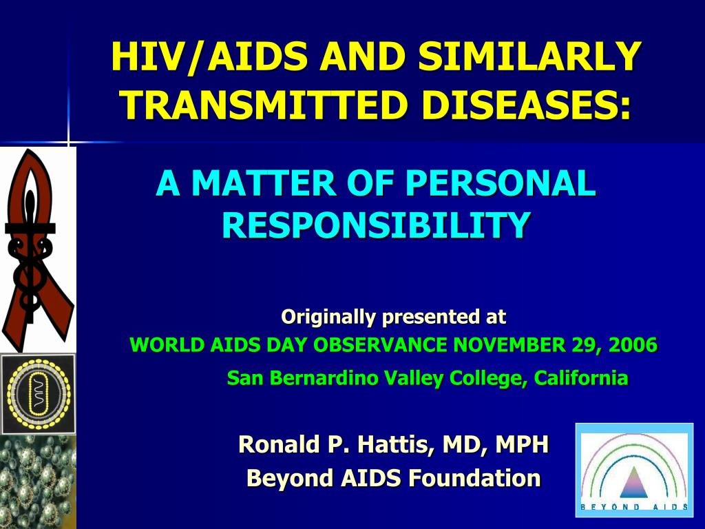 hiv aids and similarly transmitted diseases a matter of personal responsibility l.