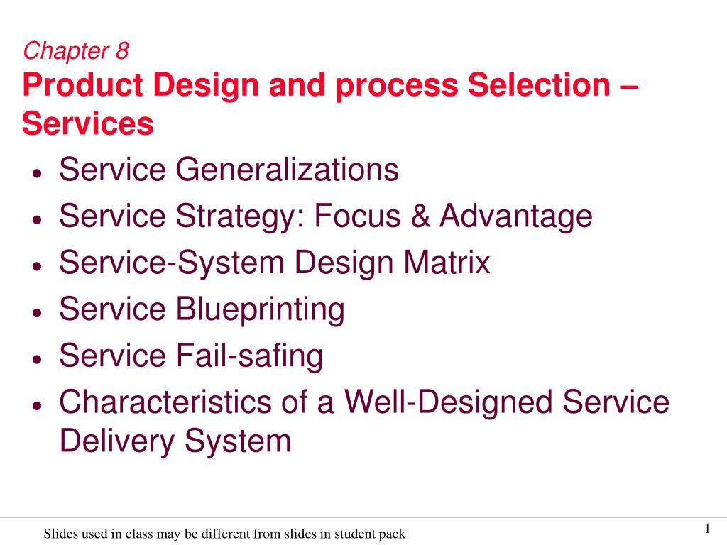 chapter 8 product design and process selection services l.