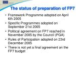 the status of preparation of fp7
