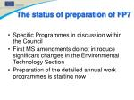 the status of preparation of fp711